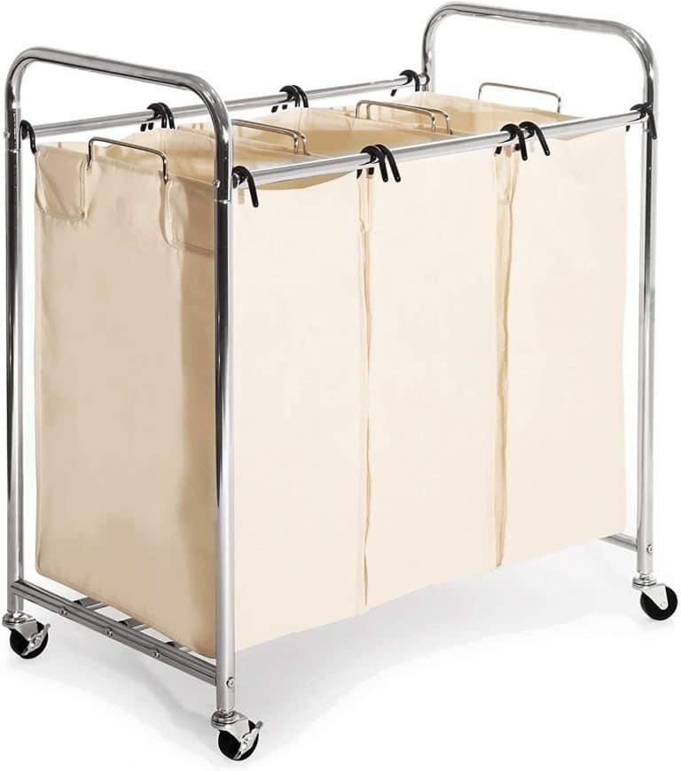 Seville Classics Mobile 3-Bag Heavy-Duty Laundry Sorter Cart